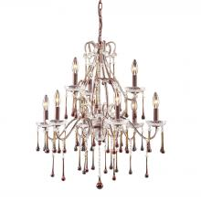 Elk 12003//1AMB Opulence 1-Light Pendant in Antique White and Amber Crystals